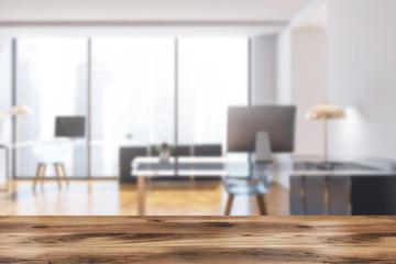 Loft company manager office interior blur