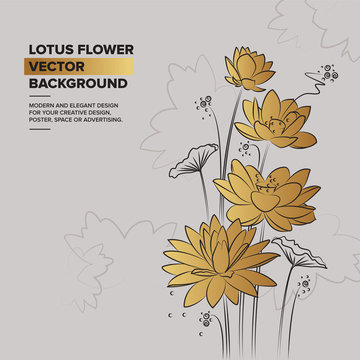 Illustration of lotus. Linear vector in golden color. Concept for boutique, jewelry, beauty salon, spa, fashion, flyer, invitation, banner design. Hand drawn water lilies.