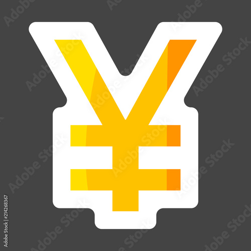 Icon Of Yen Symbol Of Japanese Currency Colored Sticker Layers