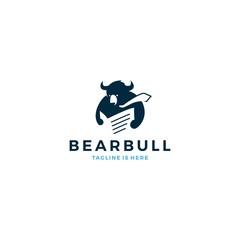 bear bull reading newspaper wearing tie logo mascot icon vector template illustration