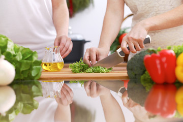 Closeup of human hands cooking in kitchen. Mother and daughter or two female friends cutting vegetables for fresh salad. Healthy meal, vegetarian food and lifestyle concepts