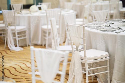 White Chiavari Chairs Arrangement For Wedding Reception Dinner Table