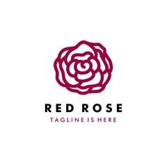 Red rose logo template - vector illustration design on white background