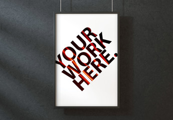 Vertical Poster on a Black Wall Mockup