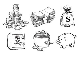 Finance, money set. Sketch vector