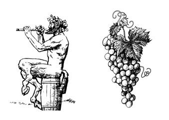 Satyr on the barrel 0f wine playing the flute and bunch of grapes. Vector