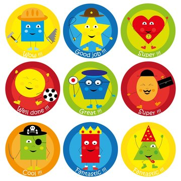 Teacher Reward Motivational Stickers for Children - funny basic shapes cartoon characters elements collection