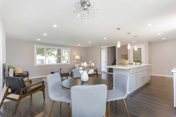 Modern home interior with open floor plan.