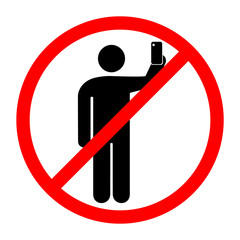 Простой и понятный знак, запрещающий селфи и съемки на смартфон. Векторная иллюстрация.