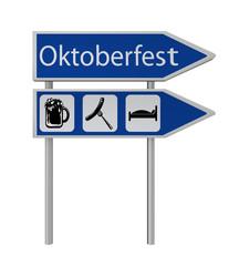 Pfeil-Schild mit den Symbolen Bier, Bratwurst und Bett und Pfeil-Schild mit dem Text Oktoberfest in deutsch. 3d render