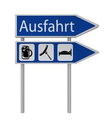 Ausfahrt Schild mit den Symbolen Bier, Bratwurst, Bett und Ausfahrt Schild mit dem Text Ausfahrt in deutsch. 3d render