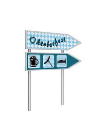 Ausfahrt-Schild mit den Symbolen Bier, Bratwurst und Bett in blau-weißem karo muster und Ausfahrt-Schild mit dem Text Oktoberfest in deutsch. 3d render
