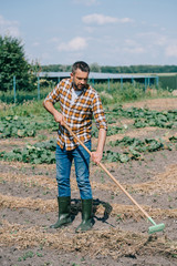 farmer in checkered shirt and rubber boots holding rake and working in field