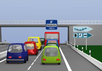 Autobahn mit bunten Autos und Straßenschildern.
