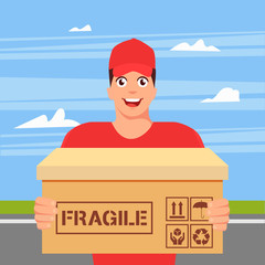 Courier in hat and uniform with package. Delivery man. Guy with cardboard box. Postman in cap. Postal, mail service. Fragile box. Vector stock.