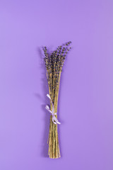 Beautiful dried lavender bouquet on violet surface