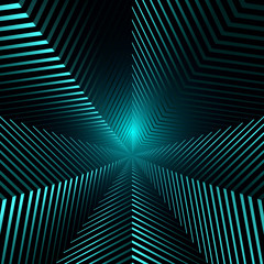 Abstract Background with Stripes. Tunnel in The Form of Star