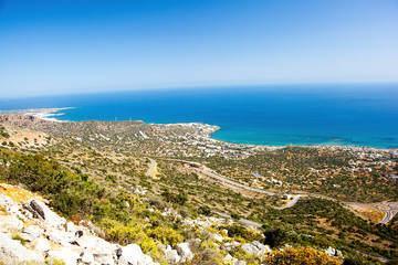 Greece, Crete. Panoramic view from the mountains on the coast of the Mediterranean Sea.