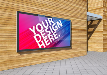 Billboard Lightbox on Exterior Wall Mockup