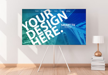 Smart TV on a Stand Mockup