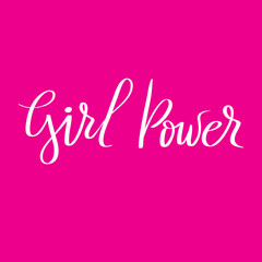Girl power slogan hand drawn white lettering on pink background. Vector illustration for t shirt, poster etc