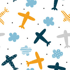 Plane and cloud seamless pattern. Cute kids print. Vector hand drawn illustration.
