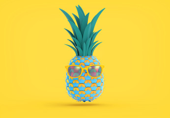 Fancy pineapple illustration on yellow BG Wall mural