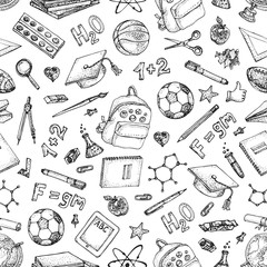 Back to school seamless pattern. Doodle vector set of Physics and Chemistry science theory,  glass flasks, formulas, stationery, books, schoolbag, scribbles isolated on white.