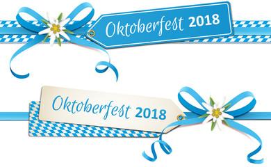 Oktoberfest - Blaue Schleife mit Edelweiß Blüte, Etikett und Rauten, Set