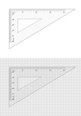 School supplies. Measuring tool. Triangle ruler 5 cm and 4 inch.