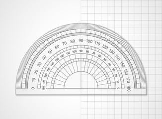 School supplies. Measuring tool. Transparent plastic protractor