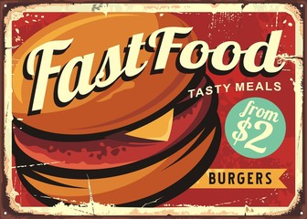 Burger retro sign decoration for fast food restaurant.
