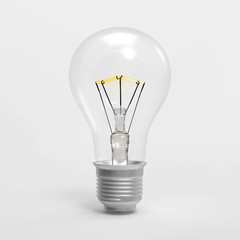 3D Light bulb illustration isolated on white BG