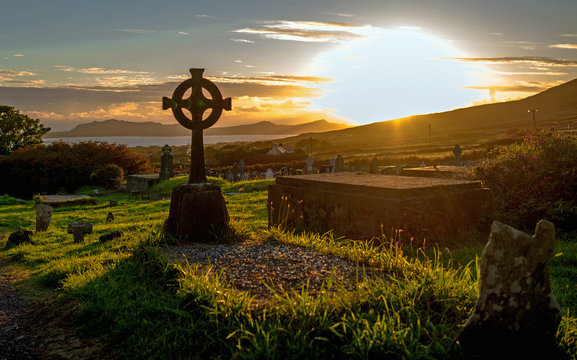 Sunset in a cemetery on the Dingle Peninsula, Co. Kerry in Ireland.