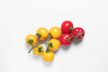 bunch of tomato yellow and red on white background for design, isolated