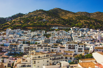 Mijas. View of the village of Mijas, white houses and mountains. Costa del Sol, Andalusia, Spain. Picture taken – 15 july 2018.