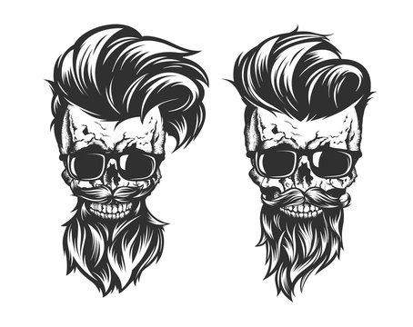 skull with hair beard and mustache