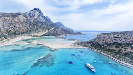 Lagoon of Balos with white sand beaches and turquoise waters, Crete Island, Greece, Mediterranean sea .