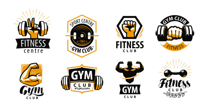 Gym, fitness logo or label. Sport, bodybuilding concept. Vector illustration