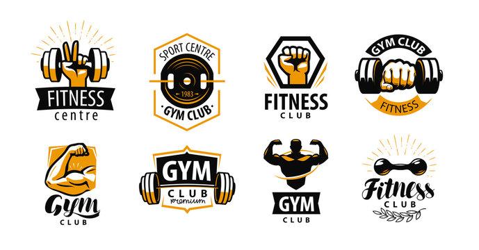 Gym, fitness logo or label. Sport, bodybuilding concept. Vector illustration
