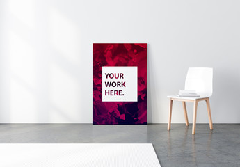 Poster Canvas with White Chair Mockup