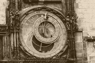 Prague chimes with old photo effect. The medieval clock tower
