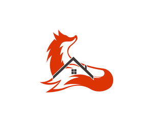 animal fox real estate home logo design template ,Vector illustration