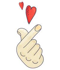 K-drama or K-pop Vector illustration. Saranghae Korean Finger Heart Love sign.