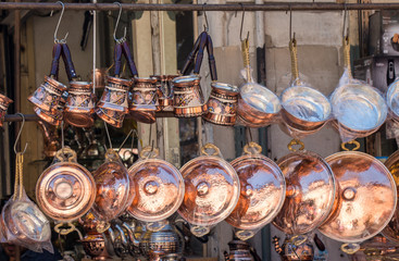 Metal pans as cookware in view
