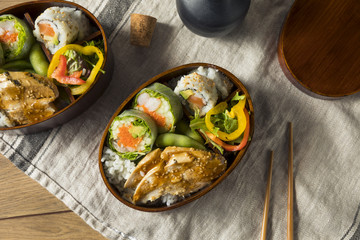Homemade Sushi Bento Box with Rice