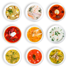Set of soups. Cream soup with mushrooms, asian fish soup, solyanka, russian borscht, chicken soup, isolated on white.