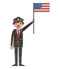 commercial airplane pilot holding american flag labor day
