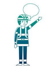 man miner in helmet and equipment speech bubble vector illustration gradient design