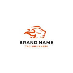 lion fire head flame king logo template vector icon illustration